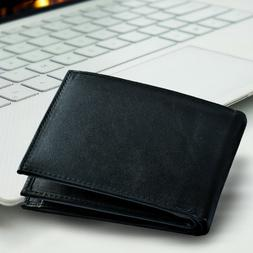 100% Genuine Leather Bifold Mens Wallet Middle ID Window Bla