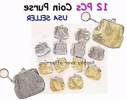 12 PCs Glitter Coin Purse with Keychain/ Woman's & Girl's Co