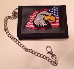 Eagle Trifold Wallet New With Chain Wholesale