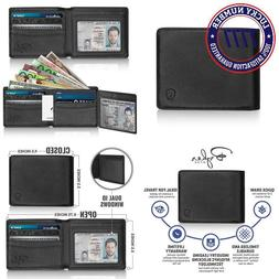 2 Id Window Rfid Wallet For Men, Bifold Side Flip, Extra Cap