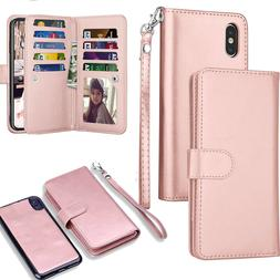 For iPhone X 8 7 Plus Magnetic Leather Removable Wallet Card
