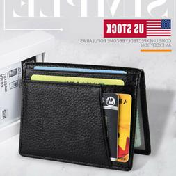8Slot Mens RFID Blocking Leather Slim Wallet Money Clip Cred