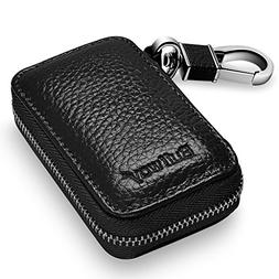 Buffway Car Key case,Genuine Leather Car Smart Key Chain Key