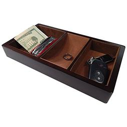 Profile Gifts Woltar Wooden Valet Tray - Brown - 3 Compartme