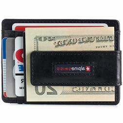 AlpineSwiss Mens Leather Money Clip Magnet Front Pocket Wall