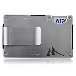 Aluminum Minimalist Money Clip Wallet + Stainless Steel RFID