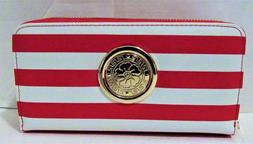 amazing double zipper red and white wallets