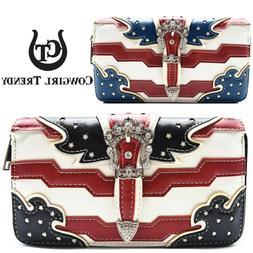 American Flag Stars and Stripes Buckle Women Wallet Wristlet