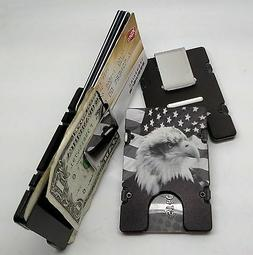 American Flag with Eagle, Aluminum Wallet/Credit Card Holder