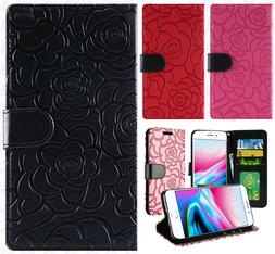 For Apple iPhone 8 & 8 PLUS ROSE Leather Wallet Case Pouch F