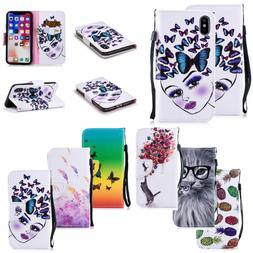 For Apple iPone 6s/7 8 Plus/X Pattern Flip Leather Stand Car