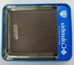 COLUMBIA BI-FOLD MENS WALLET  NEW BR0WN LEATHER