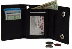 Biker's Black Mens Leather Tri-fold Wallet without Chain Bui