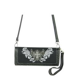BLACK CROSS WITH WINGS LOOK CLUTCH TRIFOLD WALLET WITH SHOUL