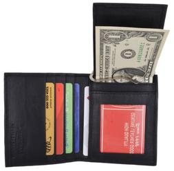 Black Mens Leather Bifold Card ID Holder Wallet With Removab