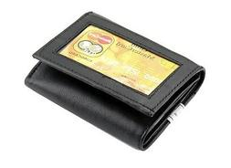 black mens trifold genuine leather wallet window