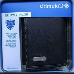 COLUMBIA Black Tri Fold Leather Wallet Built in Identity The