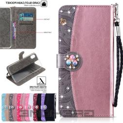 Bling Diamond Magnetic Wallet Leather Case Cover for iPhone