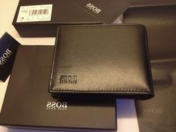 BRAND NEW DESIGNER HUGO BOSS 'AREZZO' MENS TRIFOLD BLACK COI