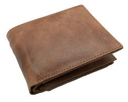 Brown Handcrafted Cowhide Leather Men's Bifold Premium Walle