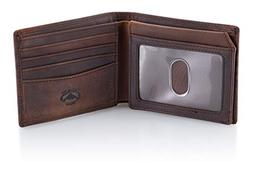 Stealth Mode Brown Leather Bifold Wallet for Men With ID Win