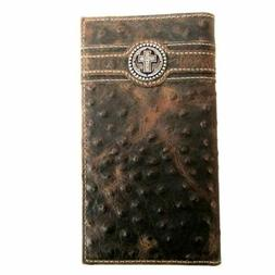 Ariat Brown Ostrich Print Rodeo Wallet with Cross Concho A35