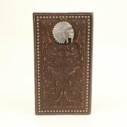 ARIAT BROWN RODEO WALLET A3537002 Indian Chief Skull Concho