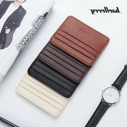 New Minimalist Leather Slim Credit Card Holder Pocket Wallet