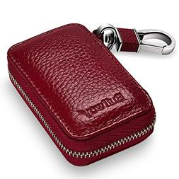 Buffway Car Key Chain Bag,Genuine Leather Car Smart Keychain