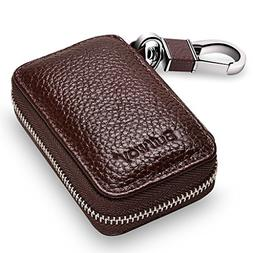 Buffway Car Key Holder,Genuine Leather Car Smart KeyChain Co