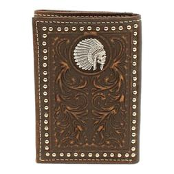Ariat Chief Concho & Studded Tooled Leather Rodeo Wallet A35