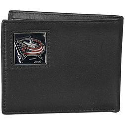 Columbus Blue Jackets Leather Bi-fold Wallet Packaged in Gif