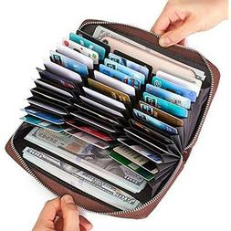 credit card wallet leather rfid with zipper
