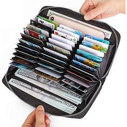 Buvelife Credit Card Wallet Leather RFID With Zipper For Wom