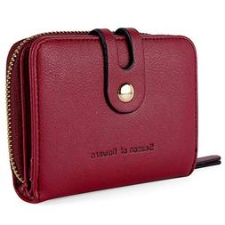 Credit Card Wallet with Zipper Bifold RFID Blocking Button C