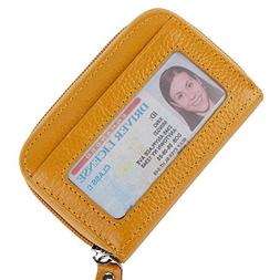 Buvelife Credit Card Wallet Zipper Leather RFID Wallet Prote