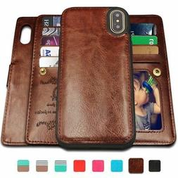 Detachable Leather wallet 9 Card Slots Case Cover Wrist Stra