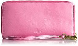 Fossil Emma RFID Large Zip Wallet, Neon Pink