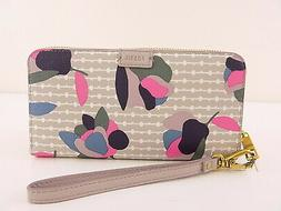 FOSSIL $ EMMA ZIP  Gray Clutch Womens Wallet RFID PROTECTION