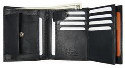 AG Wallets Mens Leather Trifold Wallet Hipster Multi Card ID