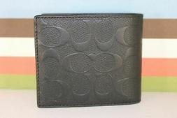 Coach F75371 Men Compact ID 3 in 1 Wallet Bifold Embossed Le