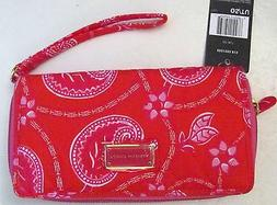 TOMMY HILFIGER* FABRIC ZIP WRISTLET WALLET- RED ROSE/PINK/WH