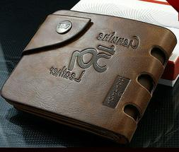 Fashion Mens Genuine Leather Bifold Wallet Credit/ID Card Ho
