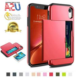 For iPhone XR XS Max Wallet Case Card Holder Protection Shoc