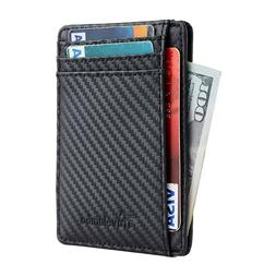Travelambo Front Pocket Leather Wallet Minimalist Slim RFID