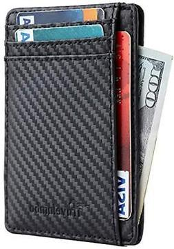 Travelambo Front Pocket Minimalist Leather Slim Wallet RFID