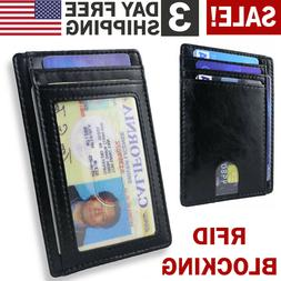 FRONT POCKET WALLET LEATHER RFID Blocking ID Card Holder Sli