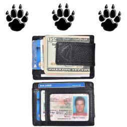 Front Pocket Wallets For Men With Money Clip Leather Slim Rf