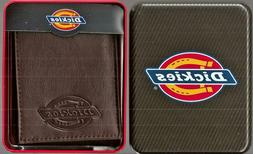 Genuine Dickies Bifold Cocoa Brown Leather Wallet with metal