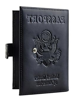 Genuine Leather Black RFID Blocking Slim Passport Card Holde